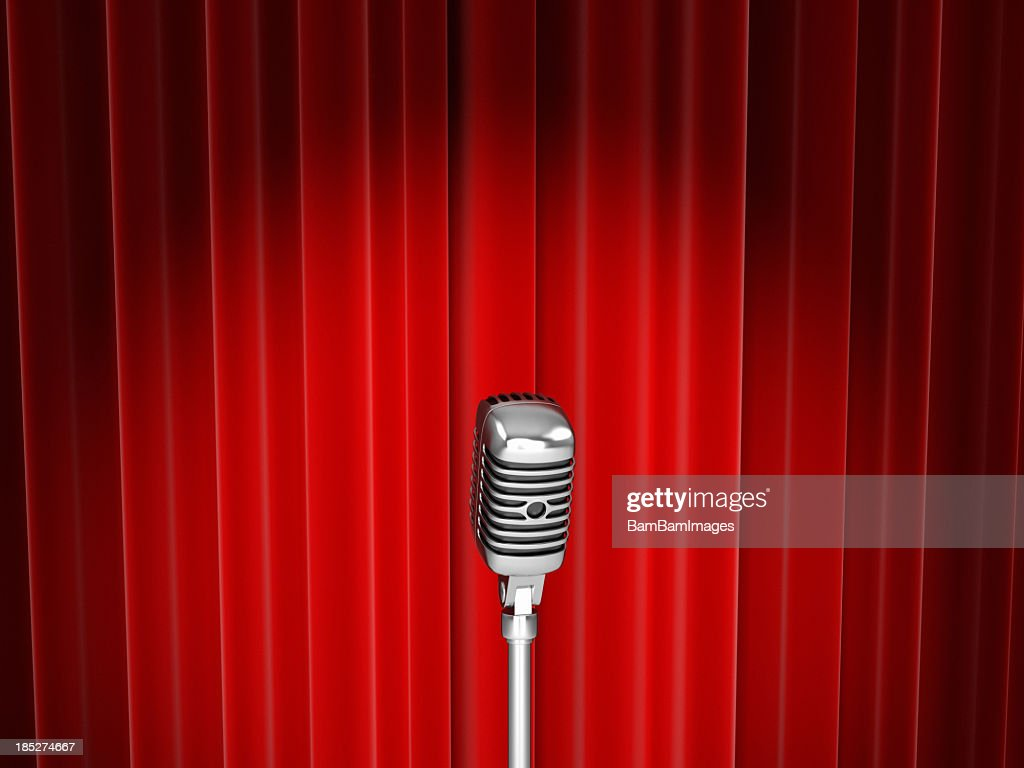 Red curtain spotlight - Vector Of Microphone With Spotlight Against Red Curtain Stock Photo