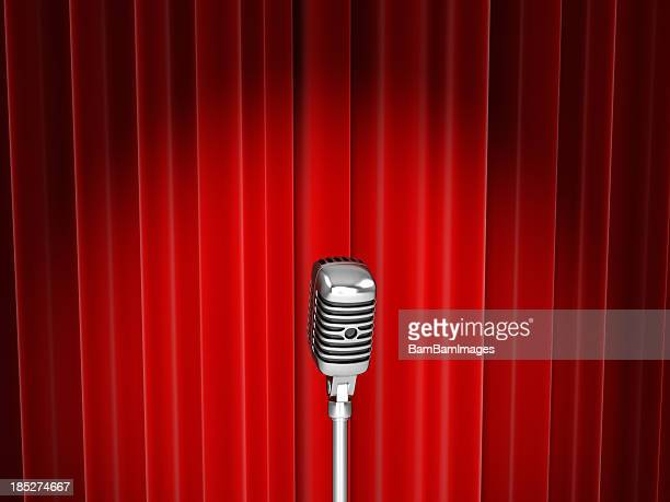 Vector of microphone with spotlight against red curtain