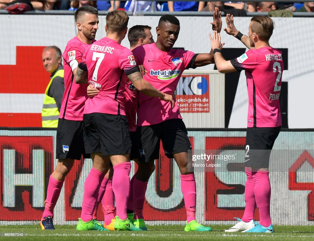 Vedad Ibisevic, Alexander Esswein, Vladimir Darida, Salomon Kalou and Peter Pekarik of Hertha BSC celebrate after scoring the 0:1 during the game between SV Darmstadt 98 and Hertha BSC on may 13, 2017 in Darmstadt, Germany.