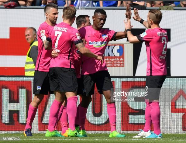 Vedad Ibisevic Alexander Esswein Vladimir Darida Salomon Kalou and Peter Pekarik of Hertha BSC celebrate after scoring the 01 during the game between...
