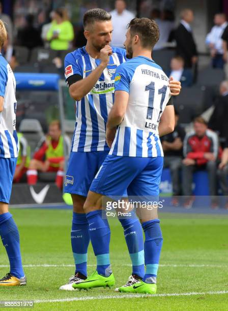 Vedad Ibisevic and Mathew Leckie of Hertha BSC celebrate after scoring the 10 during the game between Hertha BSC and dem VfB Stuttgart on August 19...