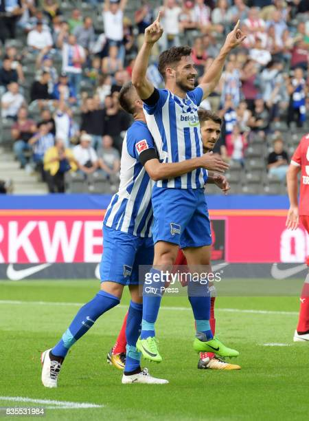 Vedad Ibisevic and Mathew Leckie of Hertha BSC celebrate after scoring the 20 during the game between Hertha BSC and dem VfB Stuttgart on August 19...