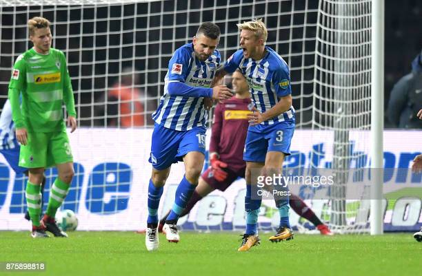 Vedad Ibisevic and Per Skjelbred of Hertha BSC celebrate after scoring the 13 during the game between Hertha BSC and Borussia Moecnhengladbach on...