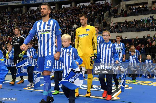 Vedad Ibisevic and Rune Almenning Jarstein of Hertha BSC before the game between Hertha BSC and Hamburger SV on October 28 2017 in Berlin Germany