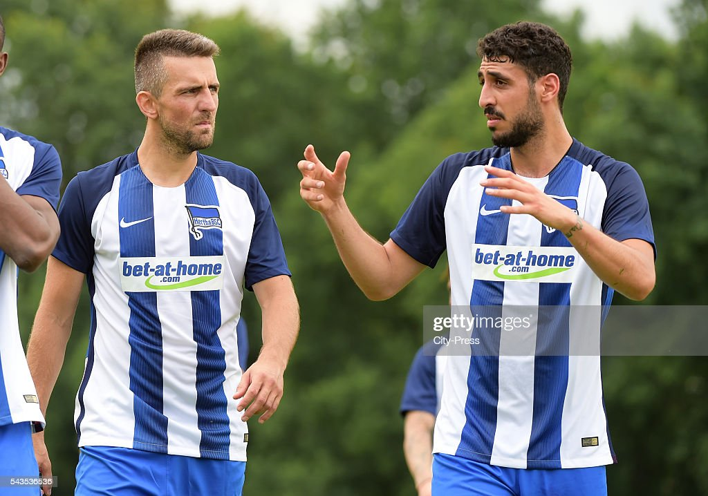 <a gi-track='captionPersonalityLinkClicked' href=/galleries/search?phrase=Vedad+Ibisevic&family=editorial&specificpeople=535857 ng-click='$event.stopPropagation()'>Vedad Ibisevic</a> and Tolga Cigerci of Hertha BSC during the training on june 29, 2016 in Berlin, Germany.