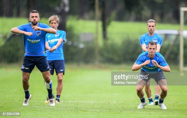 Vedad Ibisevic and Vladimir Darida during the fifth day of the training camp of Hertha BSC on july 12 2017 in Bad Saarow Germany