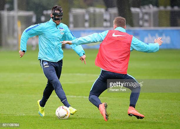 Vedad Ibisevic handles the ball against Maximilian Mittelstaedt of Hertha BSC during the training of Hertha BSC on april 14 2016 in Berlin Germany