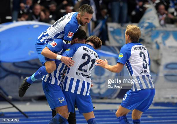 Vedad Ibisevic Karim Rekik Marvin Plattenhardt and Per Skjelbred of Hertha BSC celebrate after scoring the 20 during the game between Hertha BSC and...