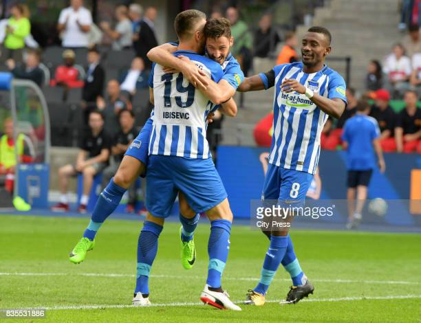 Vedad Ibisevic Mathew Leckie and Salomon Kalou of Hertha BSC celebrate after scoring the 10 during the game between Hertha BSC and dem VfB Stuttgart...