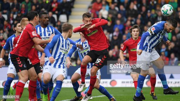 Vedad Ibisevic of Berlin block a ball during the Bundesliga match between SportClub Freiburg and Hertha BSC at SchwarzwaldStadion on October 22 2017...