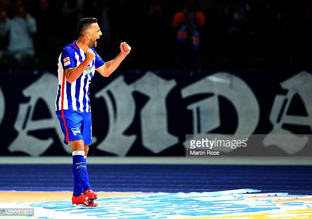 Vedad Ibisevic of Berlin celebrates after he scores the opening goal during the Bundesliga match between Hertha BSC Berlin and 1 FC koelm at...