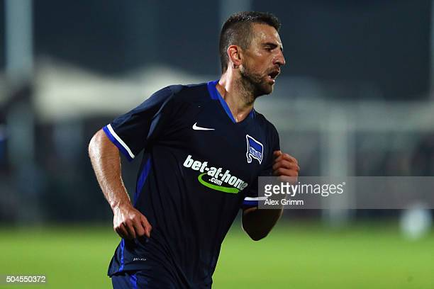 Vedad Ibisevic of Berlin celebrates his team's first goal during a friendly match between Hannover 96 and Hertha BSC Berlin at Cornelia Sports Center...