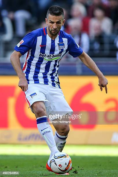Vedad Ibisevic of Berlin controls the ball during the Bundesliga match between Eintracht Frankfurt and Hertha BSC at CommerzbankArena on September 27...