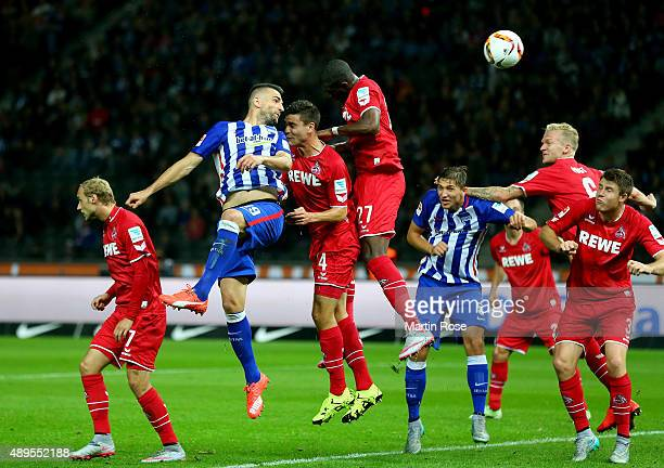 Vedad Ibisevic of Berlin heads the ball during the Bundesliga match between Hertha BSC Berlin and 1 FC koelm at Olympiastadion on September 22 2015...