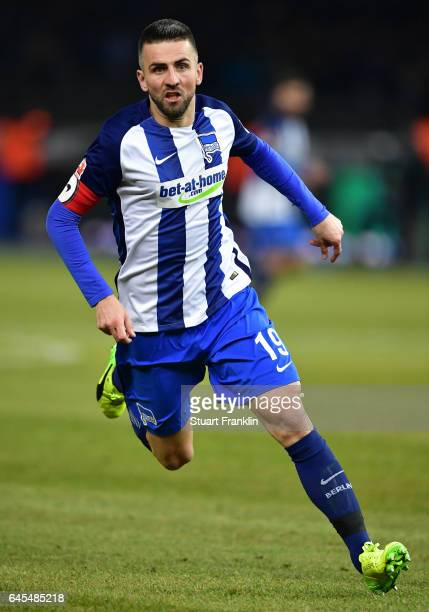 Vedad Ibisevic of Berlin in action during the Bundesliga match between Hertha BSC and Eintracht Frankfurt at Olympiastadion on February 25 2017 in...