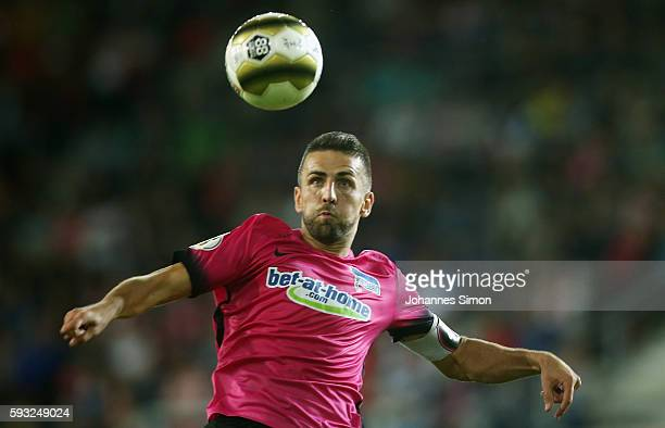 Vedad Ibisevic of Berlin in action during the DFB Cup match between Jahn Regensburg and Hertha BSC at Continental Arena on August 21 2016 in...