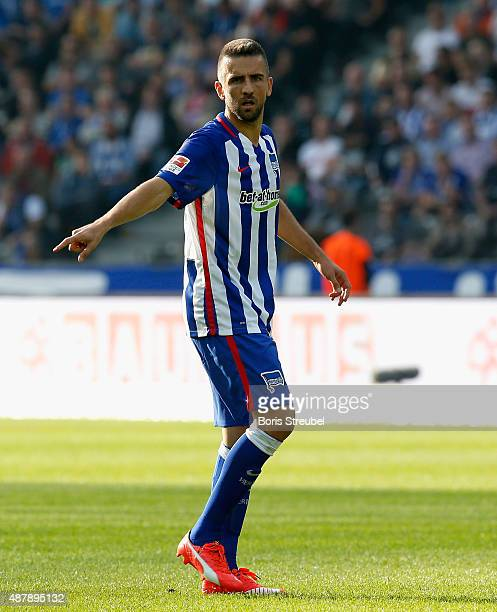 Vedad Ibisevic of Berlin reacts during the Bundesliga match between Hertha BSC and Vfb Stuttgart at Olympiastadion on September 12 2015 in Berlin...