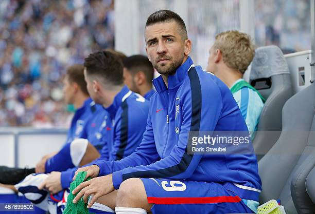 Vedad Ibisevic of Berlin sits on the bench prior to the Bundesliga match between Hertha BSC and Vfb Stuttgart at Olympiastadion on September 12 2015...