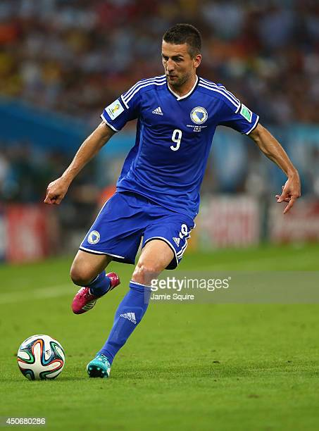 Vedad Ibisevic of Bosnia and Herzegovina controls the ball during the 2014 FIFA World Cup Brazil Group F match between Argentina and...