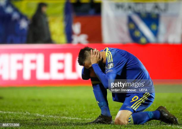 Vedad Ibisevic of Bosnia reacts during the FIFA 2018 World Cup Qualifier between Bosnia and Herzegovina and Belgium at stadium Grbavica on October 7...