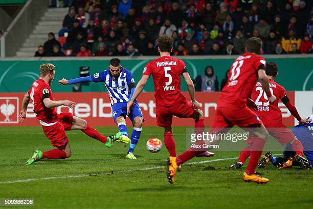 Vedad Ibisevic of Hertha Berlin scores his side's first goal during the DFB Cup quarter final match between 1 FC Heidenheim and Hertha BSC at...