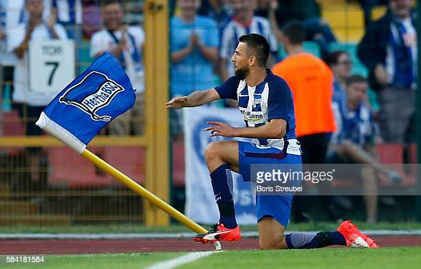 Vedad Ibisevic of Hertha BSC celebrates after scoring his team's first goal during the UEFA Europa League third qualifying round first leg match...