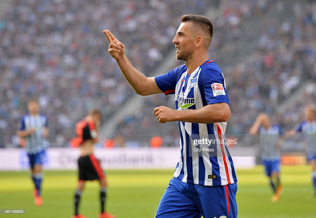 Vedad Ibisevic of Hertha BSC celebrates after scoring the 3:0 during the Bundesliga match between Hertha BSC and Hamburger SV on October 3, 2015 in Berlin, Germany.