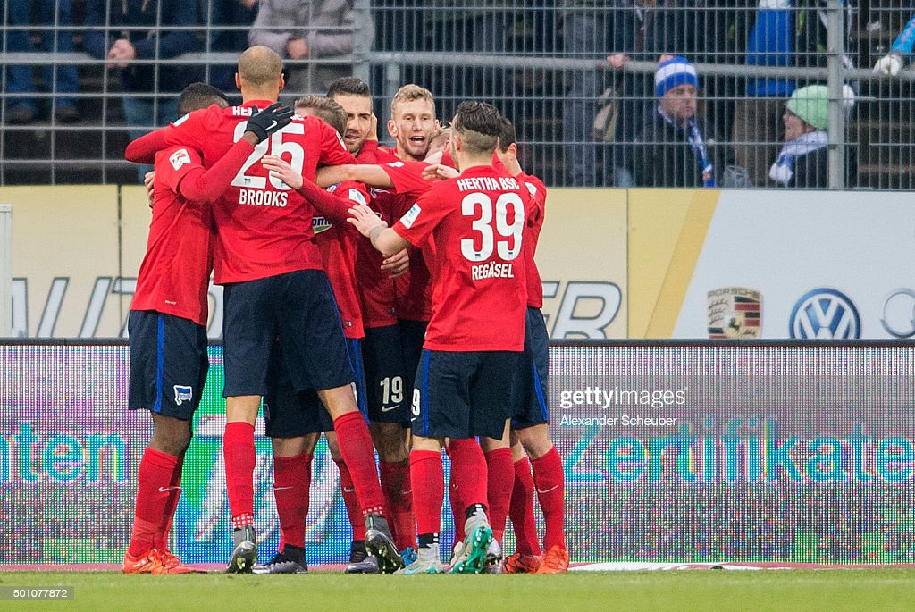 Vedad Ibisevic of Hertha BSC celebrates the first goal for his team during the bundesliga match between SV Darmstadt 98 and Hertha BSC at Merck-Stadion am Boellenfalltor on December 12, 2015 in Darmstadt, Germany.