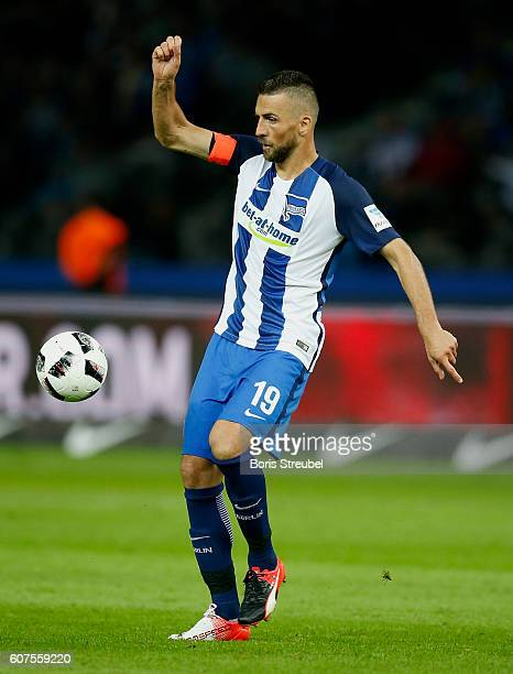 Vedad Ibisevic of Hertha BSC controls the ball during the Bundesliga match between Hertha BSC and FC Schalke 04 at Olympiastadion on September 18...