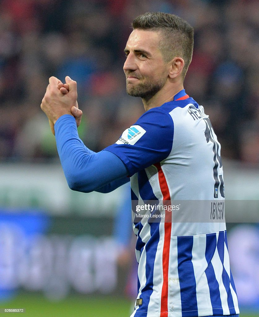<a gi-track='captionPersonalityLinkClicked' href=/galleries/search?phrase=Vedad+Ibisevic&family=editorial&specificpeople=535857 ng-click='$event.stopPropagation()'>Vedad Ibisevic</a> of Hertha BSC during the game between Bayer 04 Leverkusen and Hertha BSC on april 30, 2016 in Leverkusen, Germany.