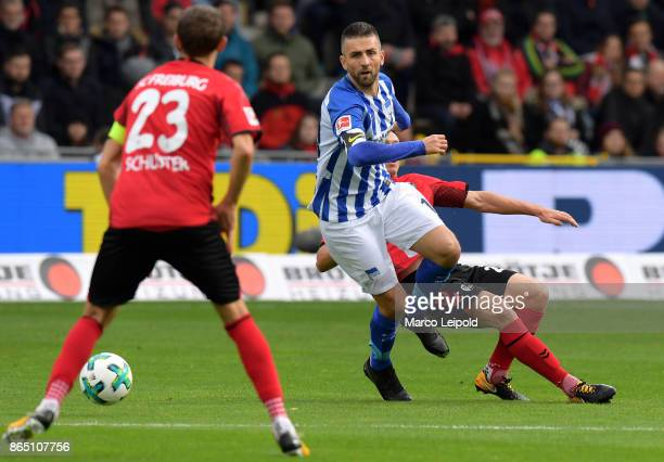 Vedad Ibisevic of Hertha BSC during the game between SC Freiburg and Hertha BSC on October 22 2017 in Freiburg Germany