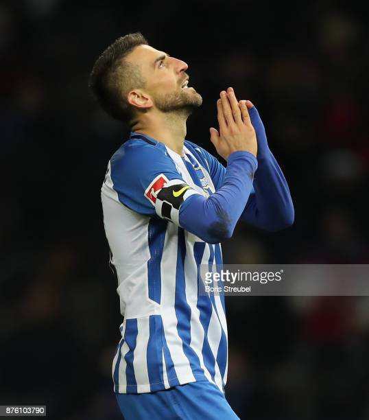 Vedad Ibisevic of Hertha BSC reacts during the Bundesliga match between Hertha BSC and Borussia Moenchengladbach at Olympiastadion on November 18...