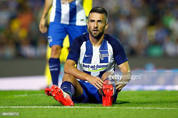 Vedad Ibisevic of Hertha BSC reacts during the UEFA Europa League third qualifying round first leg match between Hertha BSC Berlin and Brondby IF at...
