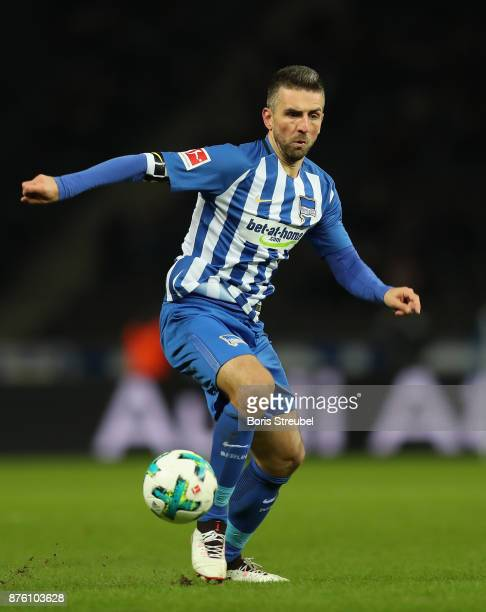 Vedad Ibisevic of Hertha BSC runs with the ball during the Bundesliga match between Hertha BSC and Borussia Moenchengladbach at Olympiastadion on...
