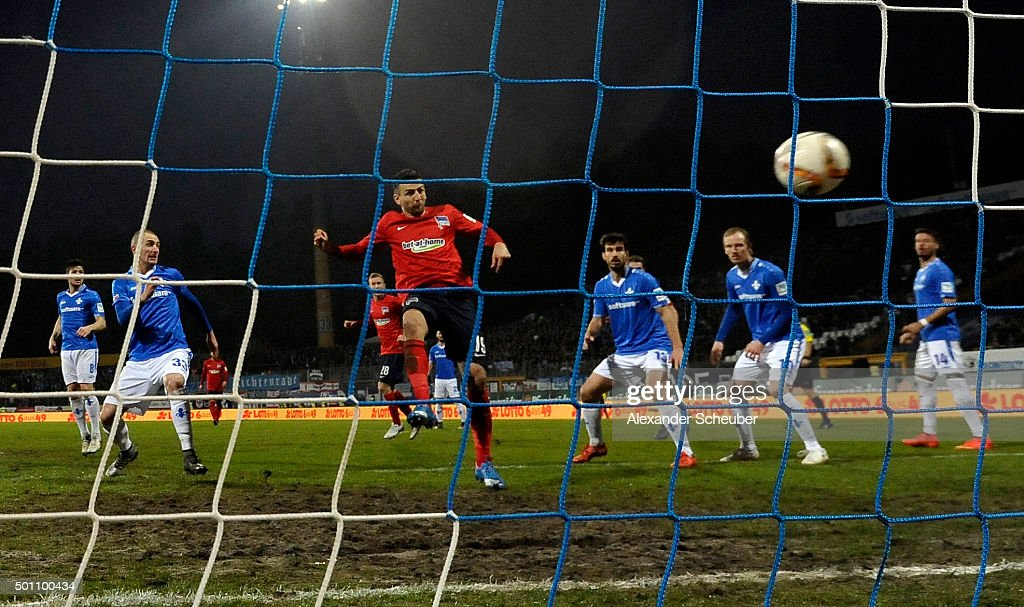 Vedad Ibisevic of Hertha BSC scores the third goal for his team during the bundesliga match between SV Darmstadt 98 and Hertha BSC at Merck-Stadion am Boellenfalltor on December 12, 2015 in Darmstadt, Germany.