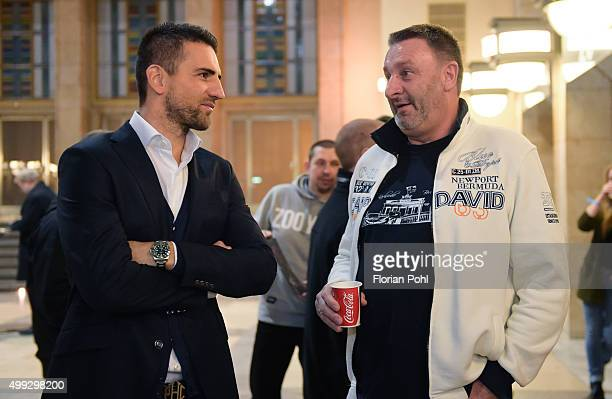 Vedad Ibisevic of Hertha BSC speaks with a fan during the general meeting on November 30 2015 in Berlin Germany