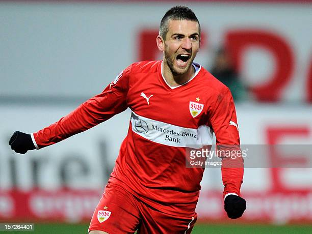 Vedad Ibisevic of Stuttgart celebrates his team's first goal during the Bundesliga match between SpVgg Greuther Fuerth and VfB Stuttgart at...