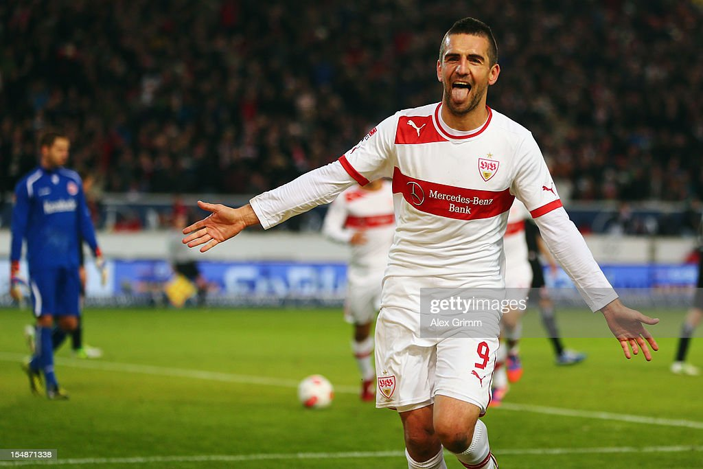 <a gi-track='captionPersonalityLinkClicked' href=/galleries/search?phrase=Vedad+Ibisevic&family=editorial&specificpeople=535857 ng-click='$event.stopPropagation()'>Vedad Ibisevic</a> of Stuttgart celebrates his team's second goal during the Bundesliga match between VfB Stuttgart and Eintracht Frankfurt at Mercedes-Benz Arena on October 28, 2012 in Stuttgart, Germany.