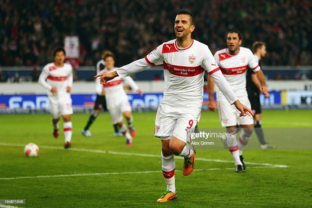 Vedad Ibisevic of Stuttgart celebrates his team's second goal during the Bundesliga match between VfB Stuttgart and Eintracht Frankfurt at Mercedes-Benz Arena on October 28, 2012 in Stuttgart, Germany.