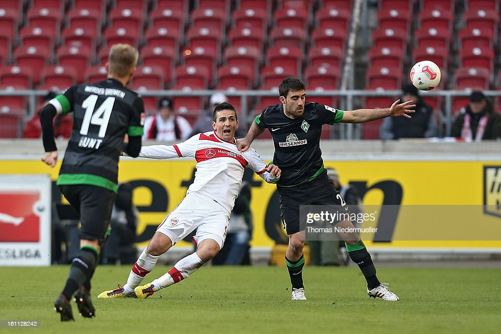 Vedad Ibisevic of Stuttgart fights for the ball with Sokratis (R) of Bremen during the Bundesliga match between VfB Stuttgart and Werder Bremen at Mercedes-Benz Arena on February 9, 2013 in Stuttgart, Germany.