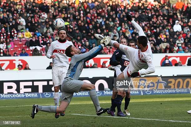 Vedad Ibisevic of Stuttgart scores his team's first goal during the Bundesliga match between VfB Stuttgart and Hertha BSC Berlin at MercedesBenz...