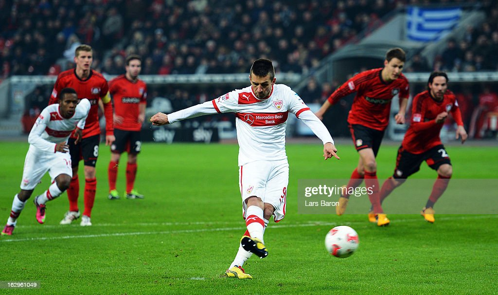Vedad Ibisevic of Stuttgart scores his teams first goal from the penalty spot during the Bundesliga match between Bayer 04 Leverkusen and VfB Stuttgart at BayArena on March 2, 2013 in Leverkusen, Germany.