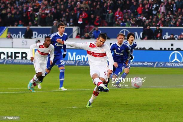 Vedad Ibisevic of Stuttgart scores his team's second goal with a penalty during the Bundesliga match between VfB Stuttgart and FC Schalke 04 at...