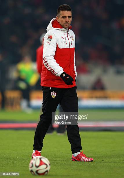 Vedad Ibisevic of Stuttgart warms up during the Bundesliga match between VfB Stuttgart and Borussia Dortmund at MercedesBenz Arena on February 20...