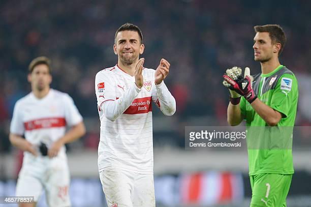 Vedad Ibisevic of VfB Stuttgart shows his frustration after the Bundesliga match between VfB Stuttgart and FC Bayern Muenchen at MercedesBenz Arena...
