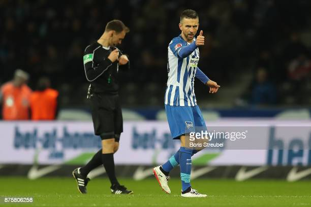 Vedad Ibisevic of Berlin celerbates after he scored a goal to make it 13 during the Bundesliga match between Hertha BSC and Borussia Moenchengladbach...