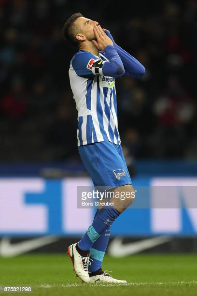 Vedad Ibisevicof Berlin looks up to the sky in frustration during the Bundesliga match between Hertha BSC and Borussia Moenchengladbach at...