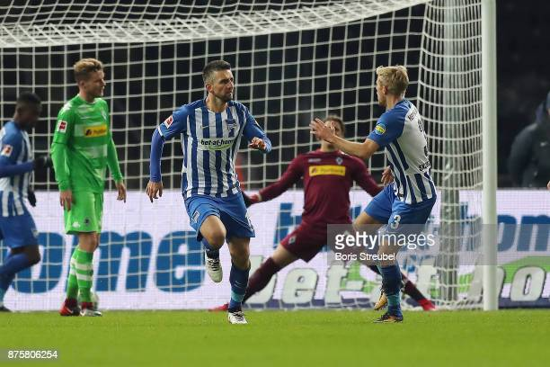 Vedad Ibisevic of Berlin scores a goal to make it 13 during the Bundesliga match between Hertha BSC and Borussia Moenchengladbach at Olympiastadion...