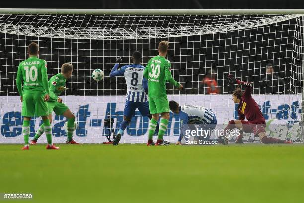 Vedad Ibisevicof Berlin scores a goal to make it 13 during the Bundesliga match between Hertha BSC and Borussia Moenchengladbach at Olympiastadion...