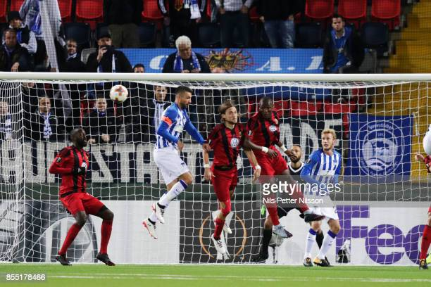 Vedan Ibisevic of Herta Berlin SC shoots a header during the UEFA Europa League group J match between Ostersunds FK and Hertha BSC at Jamtkraft Arena...
